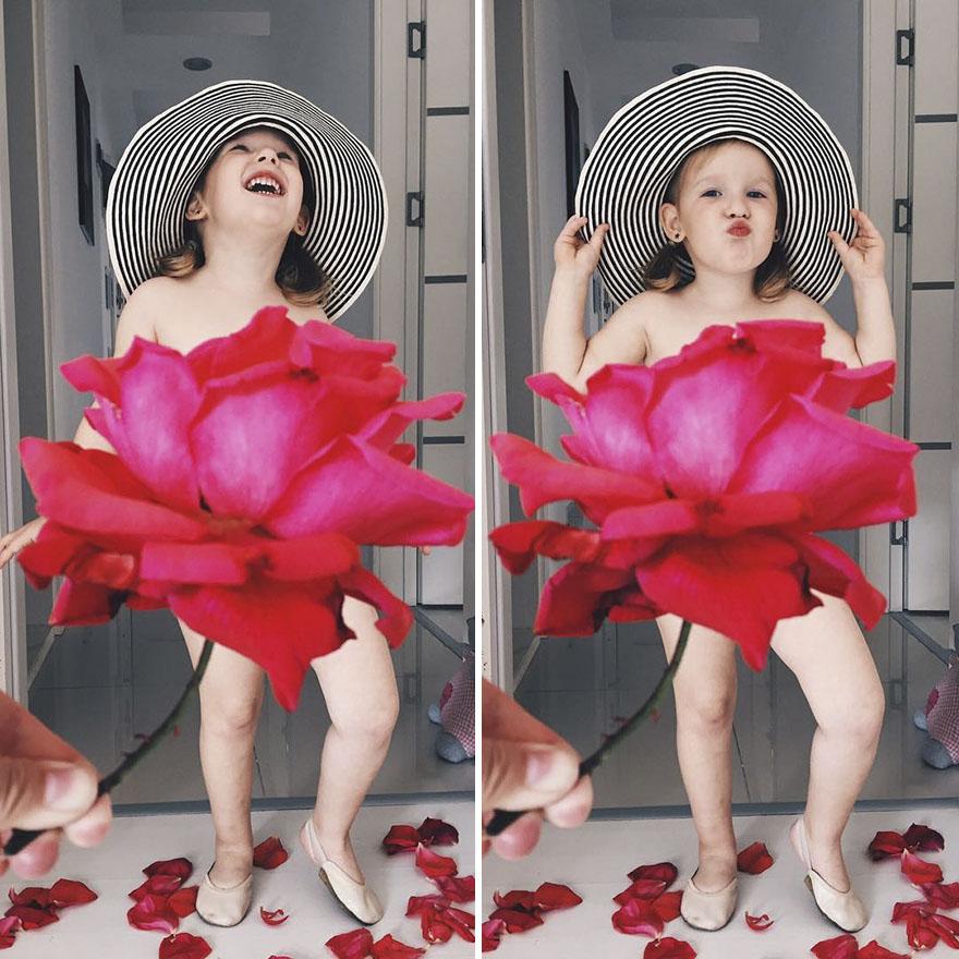 mae veste filha com legumes frutas ilusao de optica 16