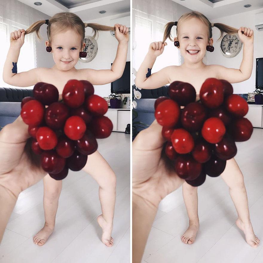 mae veste filha com legumes frutas ilusao de optica 31