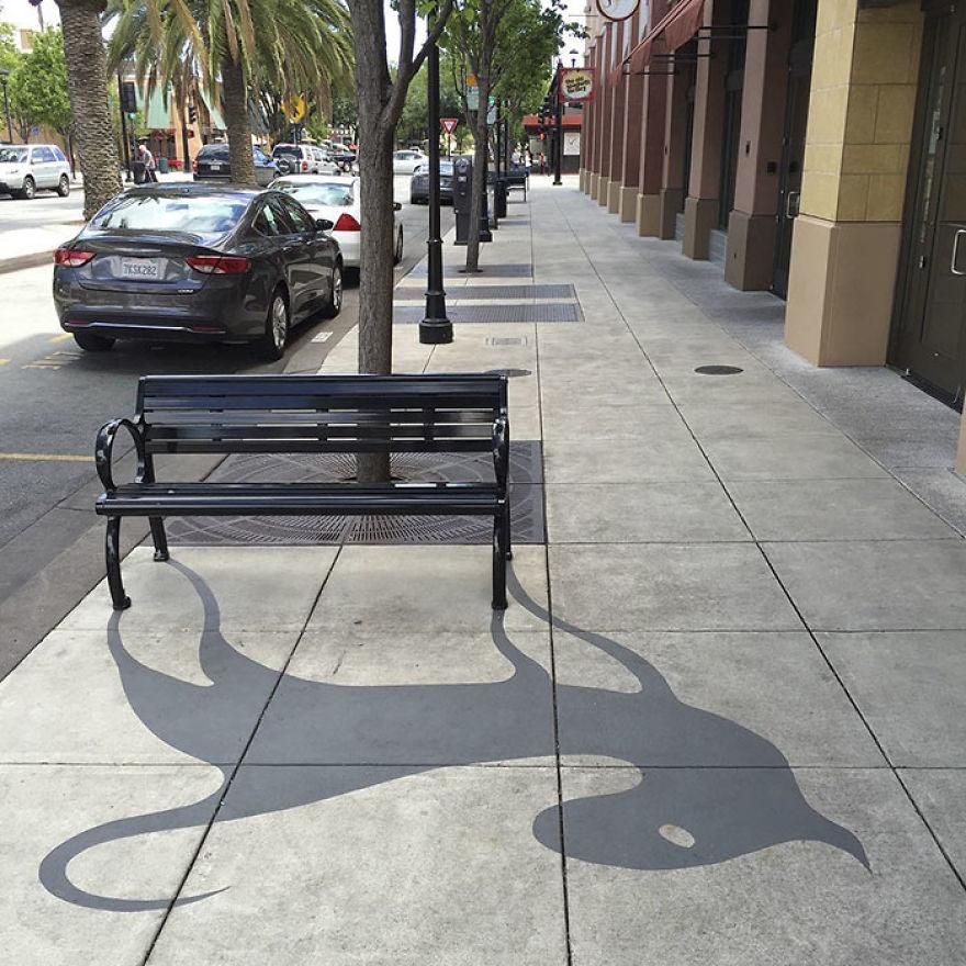 Artista pinta sombras falsas e confunde as pessoas 08