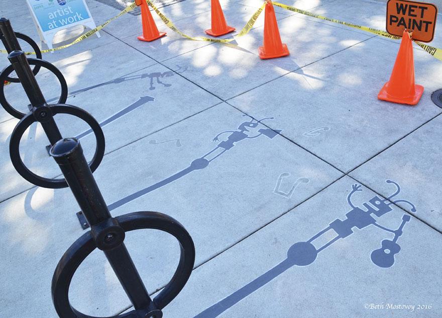 Artista pinta sombras falsas e confunde as pessoas 15